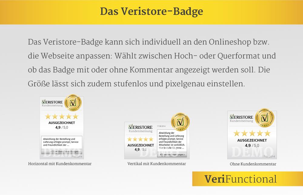 Kundenkommentare im Veristore Badge